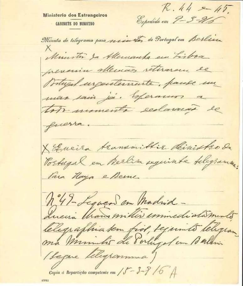 Excerto do telegrama do Ministério dos Negócios Estrangeiros informando da declaração de guerra da Alemanha a Portugal. (Fonte: Instituto Diplomático)